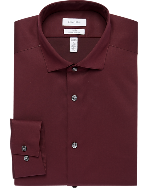 cd0965bcfd70 Calvin Klein Infinite Non-Iron Burgundy Slim Fit Dress Shirt - Men s ...