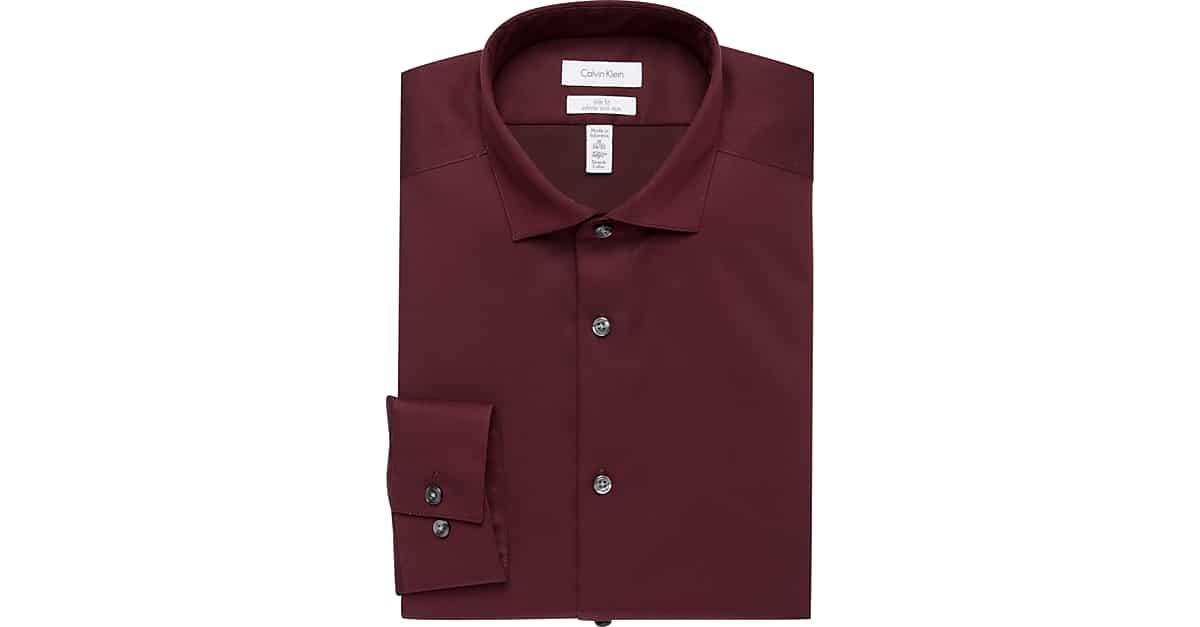 Calvin klein infinite non iron burgundy slim fit dress for Extra long mens dress shirts