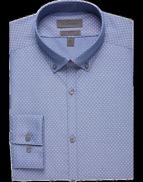 23d3b7141ba3f Calvin Klein Blue Diamond Slim Fit Dress Shirt - Men s Shirts ...