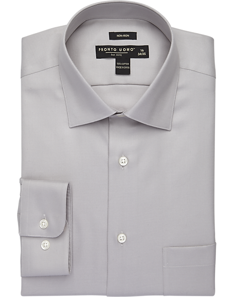 fffe4e6b9 Pronto Uomo Gray Non-Iron Dress Shirt - Mens Clothing - Men's Wearhouse