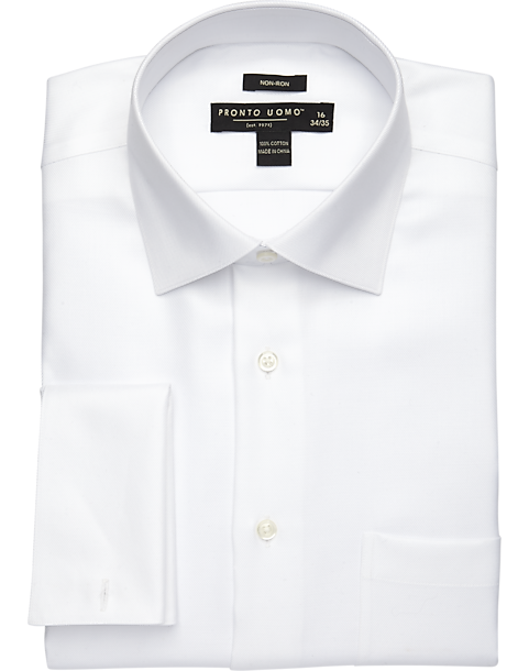 Pronto uomo white french cuff dress shirt men 39 s classic for Mens dress shirts french cuffs
