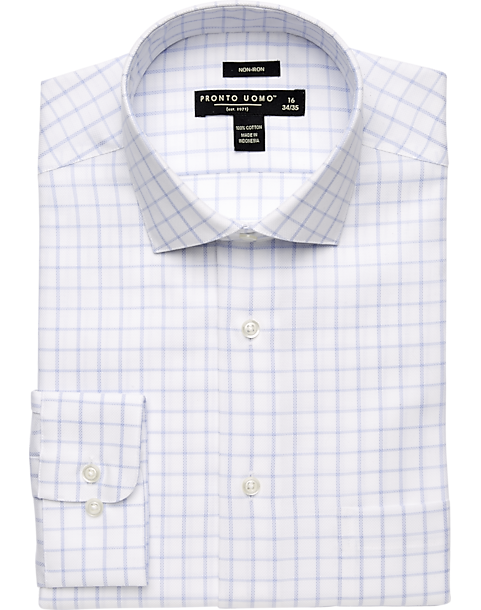 pronto uomo white blue windowpane dress shirt men 39 s