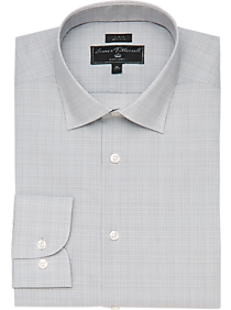 77167921 James Tattersall Kings Cross Gray Crosshatch Slim Fit Dress Shirt