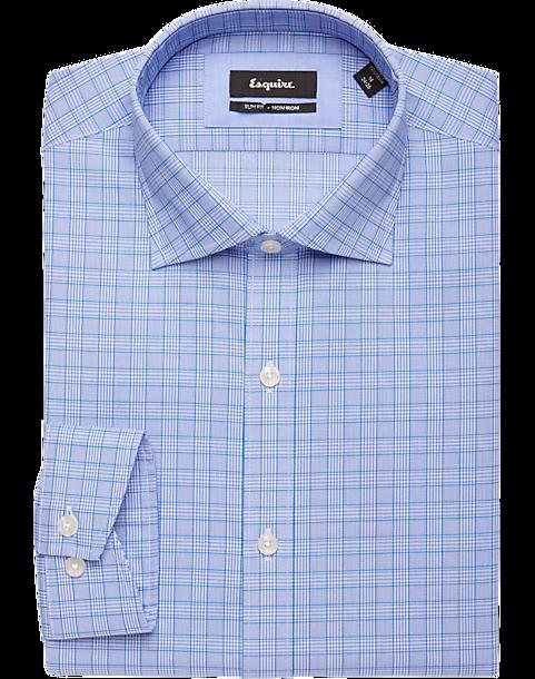4f140e6825b Esquire Light Blue Check Slim Fit Dress Shirt - Men s Non-Iron Dress ...
