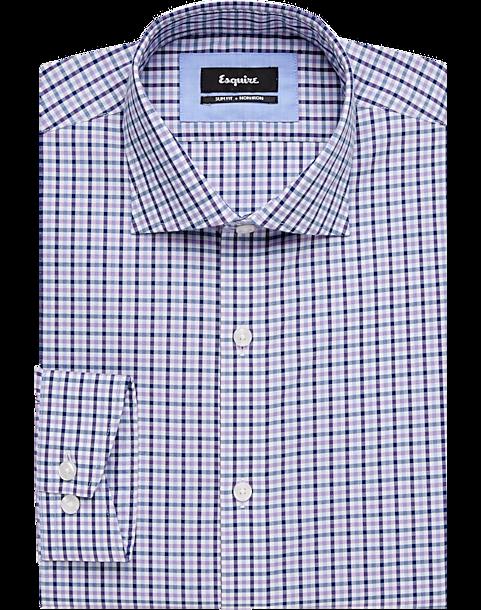 80517fb013c Esquire Navy   Purple Slim Fit Dress Shirt - Men s Shirts