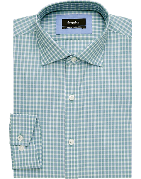 a9da615fdf8 Esquire Green Check Slim Fit Dress Shirt - Mens Clothing - Men s Wearhouse