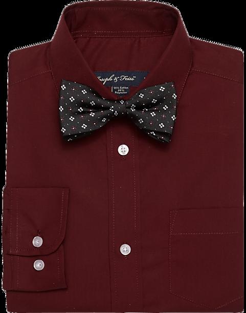 Joseph Feiss Boys Burgundy Shirt Bow Tie Set Men S Men S