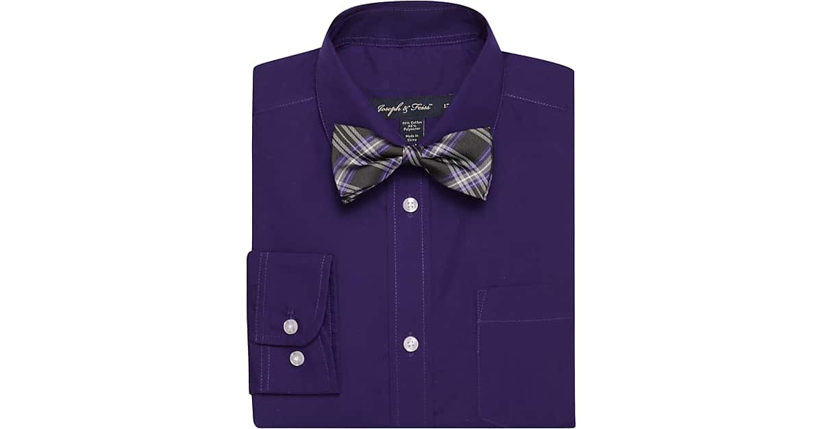 Joseph feiss boys purple shirt bow tie set men 39 s for Ties that go with purple shirts