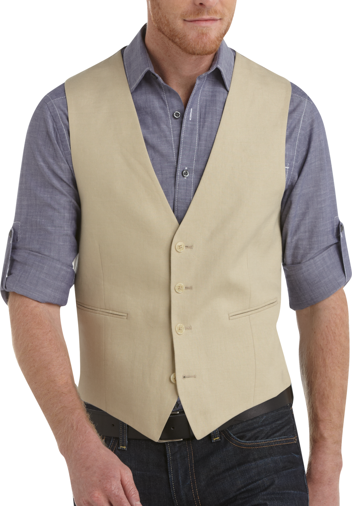 100% Linen Tan Suit Separates Vest - Men's Suit Vests - Calvin ...