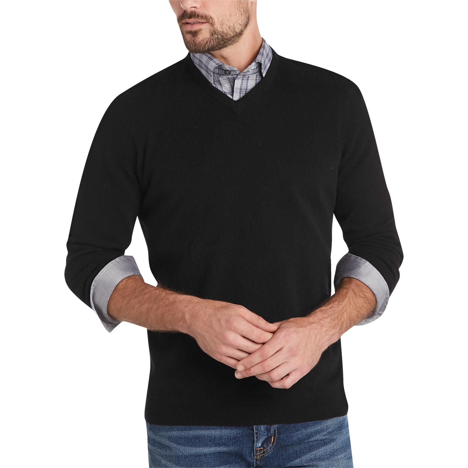 Mens Black Ribbed Sweater | Mens Wearhouse