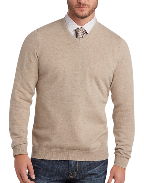 Joseph Abboud Wheat V Neck Cashmere Sweater Mens All Big Tall