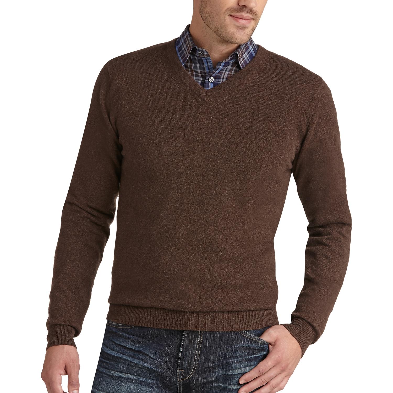 Joseph Abboud Brown V-Neck Cashmere Sweater - Men's Sweaters ...