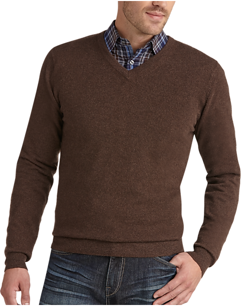 Joseph Abboud Brown V-Neck Cashmere Sweater - Men's | Men's Wearhouse