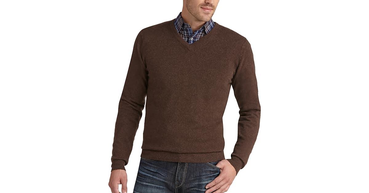Joseph Abboud Brown V-Neck Cashmere Sweater - Men's | Men's Wearhouse