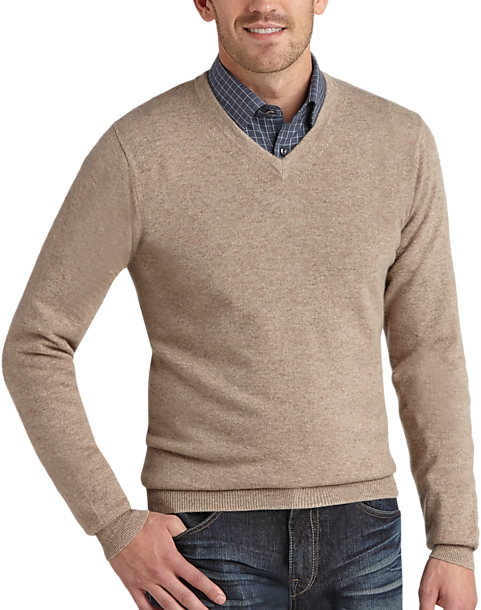 Joseph Abboud Beige V-Neck Cashmere Sweater - Men's Sweaters ...