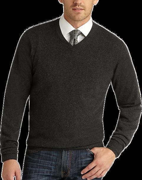 5f269b444942 Joseph Abboud Charcoal V-Neck Cashmere Sweater - Men s Sweaters ...