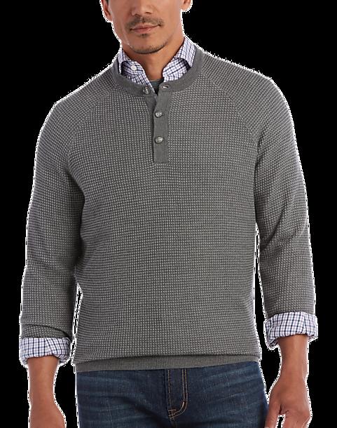 Joseph Abboud Gray Henley Sweater Mens Sweaters Mens Wearhouse