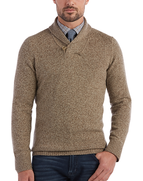 Joseph Abboud Tan Shawl Collar Sweater - Men's | Men's Wearhouse