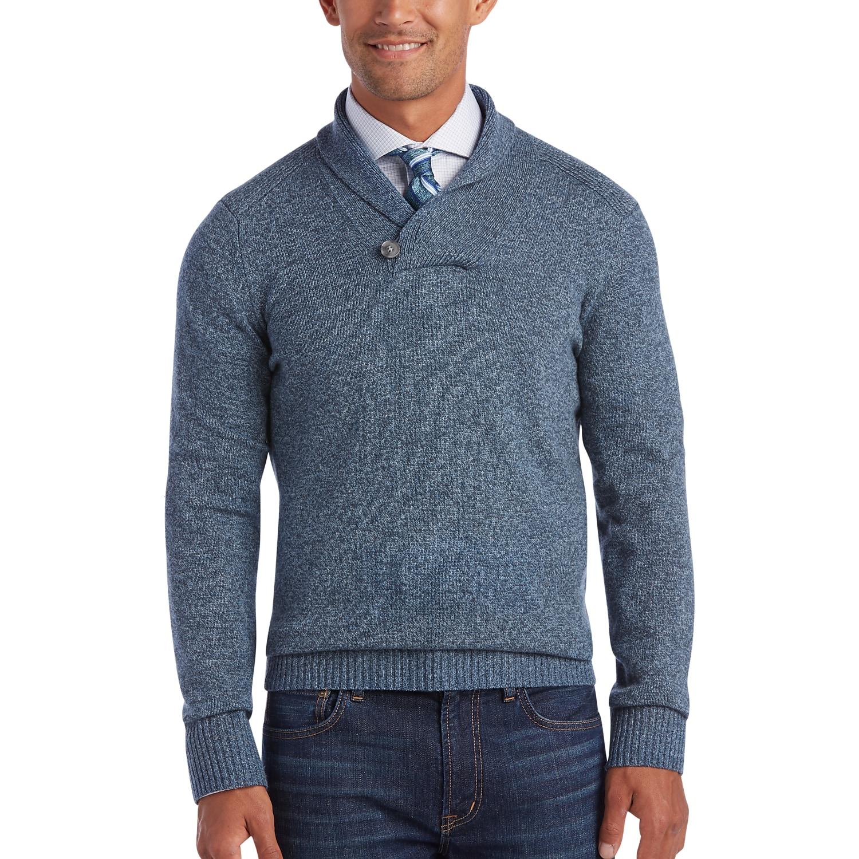 Joseph Abboud Heather Blue Shawl Collar Sweater - Men's Sweaters ...