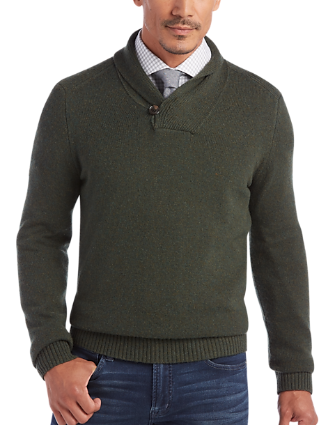 Joseph Abboud Forest Green Shawl Collar Sweater - Men's Sweaters ...