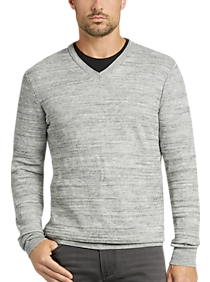 Joseph Abboud Gray Stripe V-Neck Modern Fit Sweater