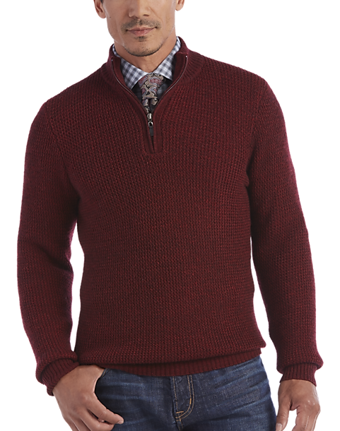 Joseph Abboud Burgundy Half-Zip Sweater - Men's | Men's Wearhouse
