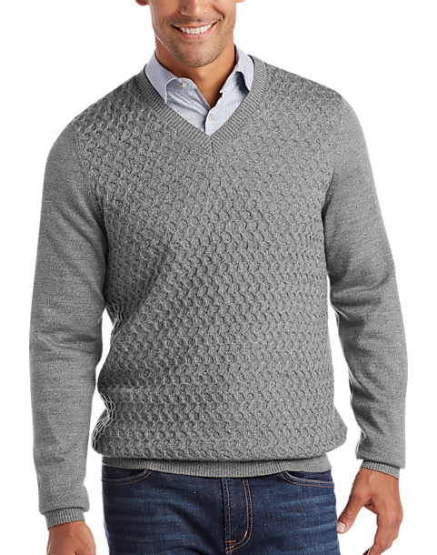 62a633cf1bff Joseph Abboud Light Gray V-Neck Sweater - Men s Modern Fit