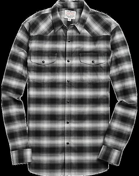 lucky brand black plaid western style sport shirt