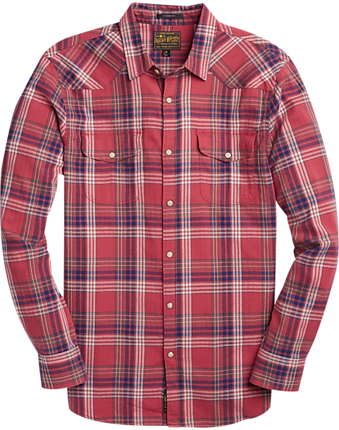 lucky brand red plaid western style sport shirt