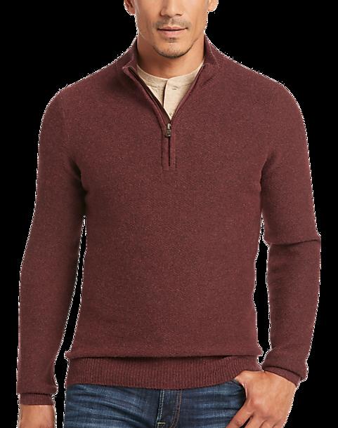 Joseph Abboud Rust Mock-Neck 1/2 Zip Sweater - Men's | Men's Wearhouse