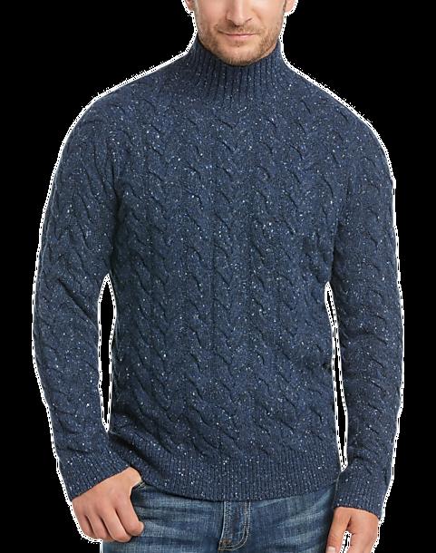 d0fc373b8093 Joseph Abboud Denim Blue Mock-Neck Cable-Knit Sweater - Men s Sale ...