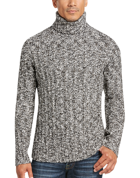 Joseph Abboud Black White Turtleneck Sweater Mens Clearance