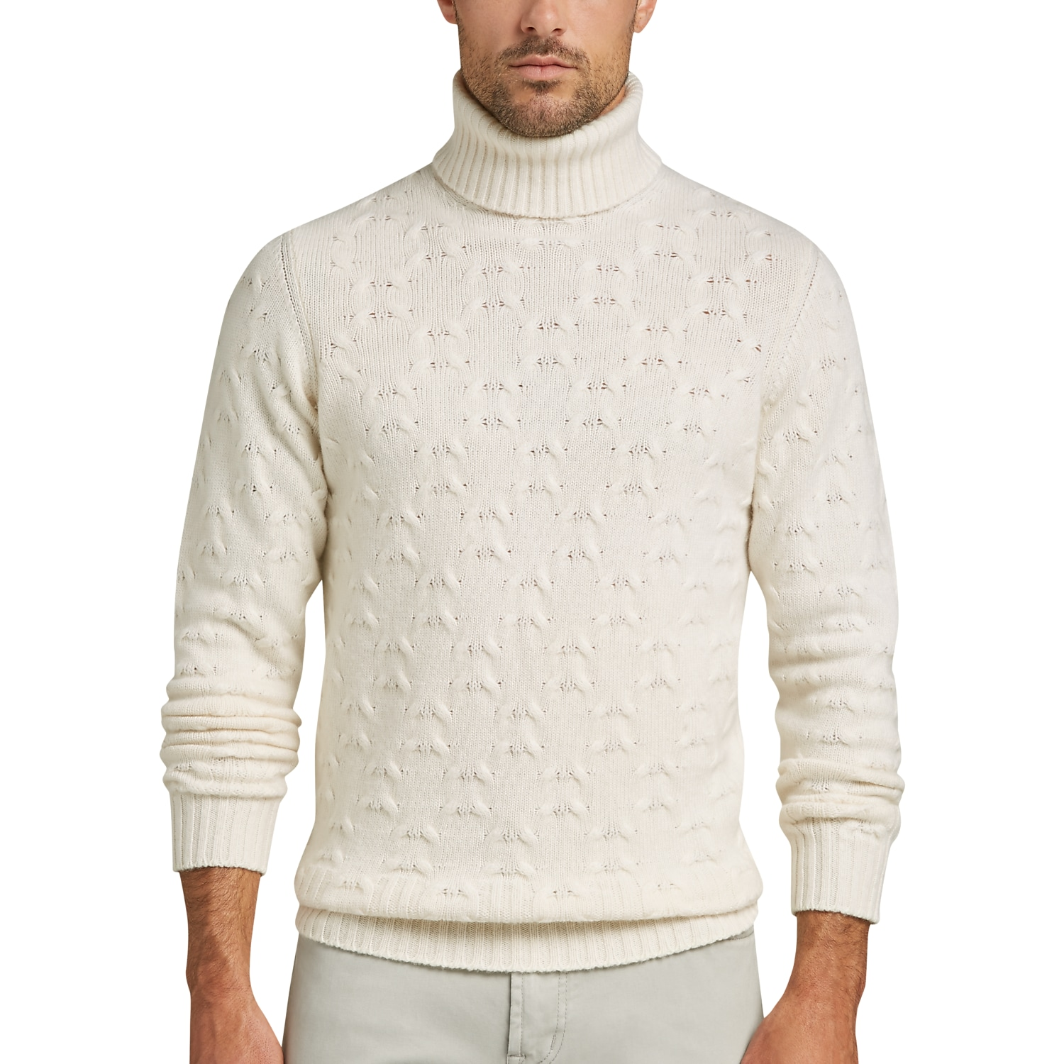 Joseph Abboud Winter White Turtleneck Cashmere-Blend Sweater ...