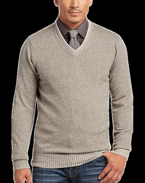 9a53f48331 Joseph Abboud Tan V-Neck Sweater - Men's Sale | Men's Wearhouse