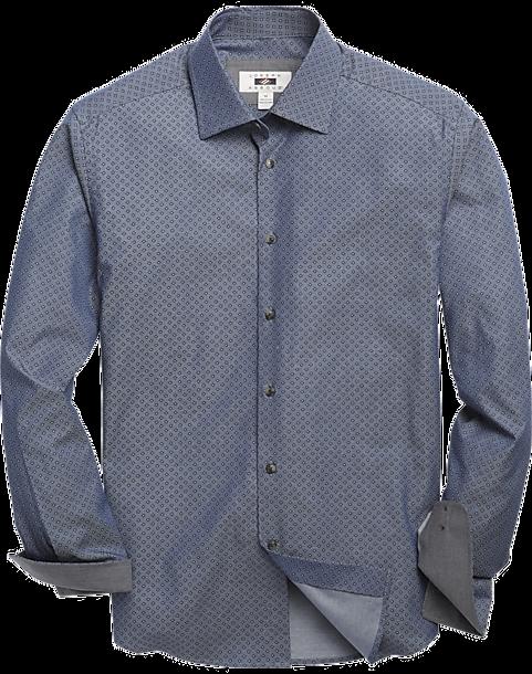 Joseph abboud brown blue floret sport shirt men 39 s for Joseph abboud dress shirt