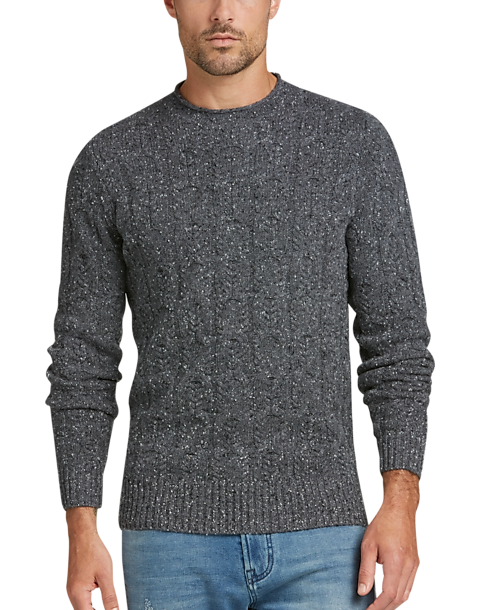 Joseph Abboud Charcoal Cashmere Blend Cableknit Sweater Mens All