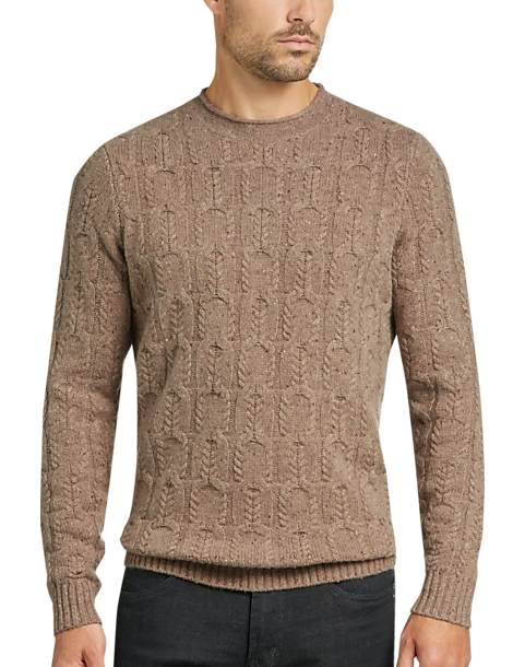 Joseph Abboud Mushroom Cashmere Blend Cableknit Sweater Mens