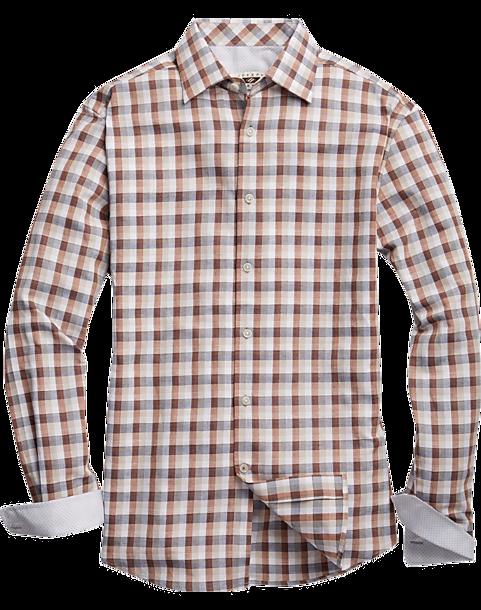 Joseph abboud brown navy check sport shirt men 39 s sport for Joseph abboud dress shirt