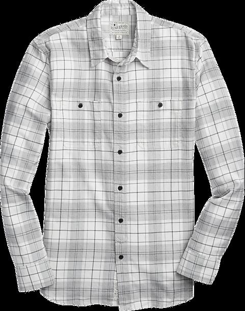 lucky brand gray & white plaid sport shirt