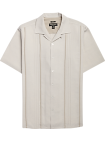 8ce30070 Mens Clearance, Sale - Pronto Uomo Bone & Taupe Camp Shirt - Men's Wearhouse