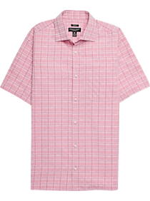 6c8e727f2 Mens Clearance - Pronto Uomo Raspberry Plaid Camp Shirt - Men's Wearhouse