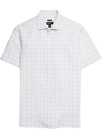 5e4758a9576 Mens Clearance - Pronto Uomo White Plaid Camp Shirt - Men s Wearhouse
