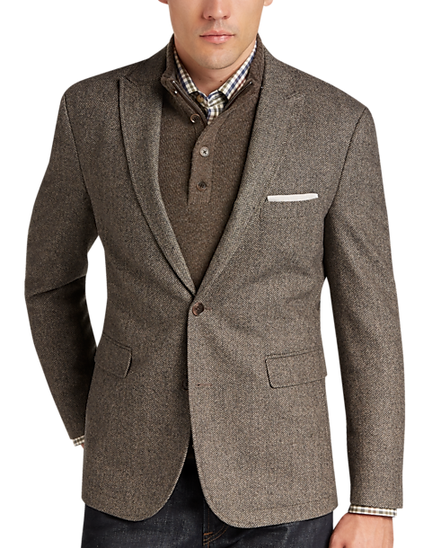 Joseph Abboud Tan & Black Herringbone Casual Coat - Men's Casual ...