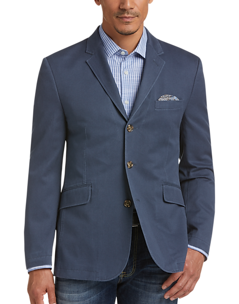 Joseph Abboud Men's 3-Button Cotton Casual Coat (Navy/Light Tan)