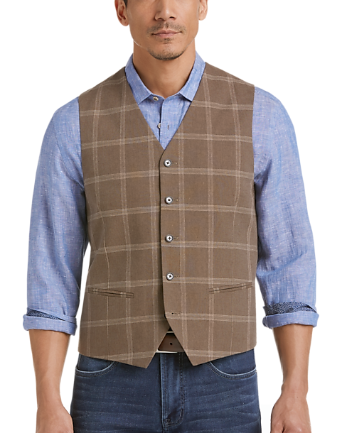 19f909bd9484d Joseph Abboud Brown Windowpane Vest - Mens Home - Men s Wearhouse