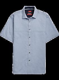 5d817f87f Kenneth Cole Awearness AWEAR-TECH Blue Check Short Sleeve Sport Shirt