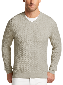 Mens Sweaters, Big & Tall - Joseph Abboud Mushroom Tan Sweater - Men's  Wearhouse