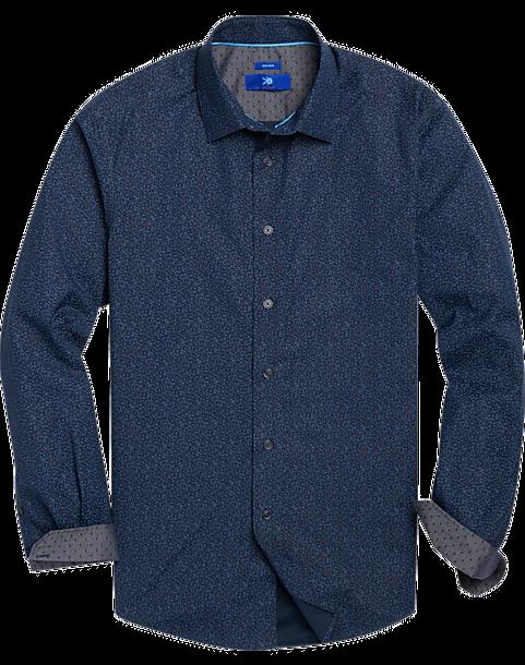 Egara Navy & Berry Leaf Pattern Sport Shirt