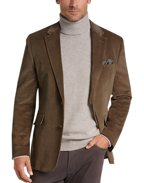 Joseph Abboud Tan Herringbone Velour Casual Coat