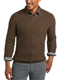 Mens Brown V Neck Sweater | Mens Wearhouse